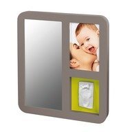 Baby Art Mirror Print Frame Taupe & Lime