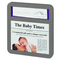 Baby Art Newsprint Frame Taupe & Lime/Plum