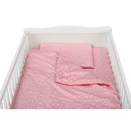 BabyNeeds - Lenjerie patut 3 piese 140x70 cm, Roz cu stelute albe