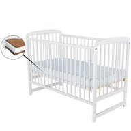BabyNeeds- Patut din lemn Ola, 120X60 cm, Alb+ Saltea 8 cm