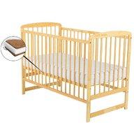 BabyNeeds - Patut din lemn Ola 120x60 cm, Natur + Saltea 10 cm