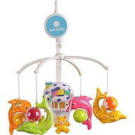 Carusel muzical Delfini Cu lampa, Cu sunete si jucarii
