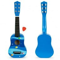 Ecotoys - Chitara din lemn pentru copii cu corzi metalice  F018BLUE