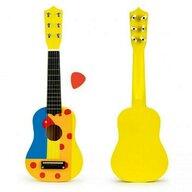 Ecotoys - Chitara din lemn pentru copii cu corzi metalice  F018YELLOW