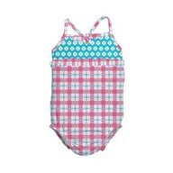 Iplay - Costum de baie fetita cu scutec inot integrat, 18 luni, SPF50+, Pink Squares