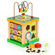 Ecotoys - Jucarie cu activitati Cub educational HM015473 Cu tabla din Lemn