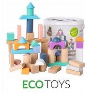 Ecotoys - Cuburi din lemn 50 piese