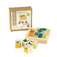 Ecotoys - Puzzle din lemn Cuburi educationale cu dinozauri