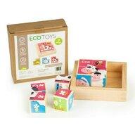 Ecotoys - Puzzle din lemn Cuburi educationale Zoo