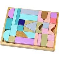 Ecotoys - Cuburi Cu suport tip tava din Lemn, Multicolor