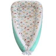 Ingrid's Fabrics - Suport de dormit Cuib bebelusi Masinute din Bumbac, 90x50 cm, Turcoaz