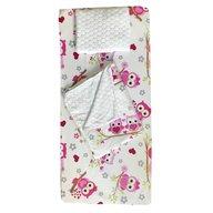 Deseda - Set 3 piese de iarna paturica cu cearsaf si pernuta pentru pat 140x70 cm, Bufnite roz