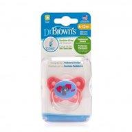 Dr. Brown's - Suzeta PreVent din silicon, cu capac, Design Fluture (BPA Free)6-12 luni, Roz