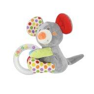 Lorelli Toys - Zornaitoare de plus Soricel 11 cm, Cu inel si bilute zornaitoare