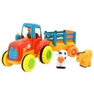 Globo - Jucarie muzicala Tractor cu remorca, cu sunete si 3 figurine incluse
