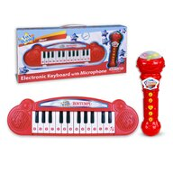 Bontempi - Orga Mini Electronica Cu microfon Karaoke, Cu 24 de clape, Rosu