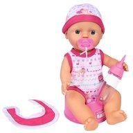 Simba - Papusa New Born Baby 30 cm Bebe Darling cu olita si bavetica roz inchis