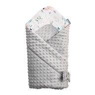Sensillo - Paturica Minky Wrap Animals Light Nou-nascut din Bumbac, 80x80 cm, Gri