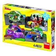 Dino - Toys - Puzzle 4 in 1 Mickey Mouse si Minnie la cursa 54 piese