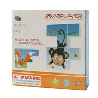Magplayer - Puzzle cubic Animalute vesele Magnetic Puzzle Copii, pcs  9
