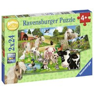 Ravensburger - Puzzle Ferma animalelor, 2x24 piese