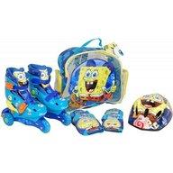 Saica - Role copii Sponge Bob, reglabile 35-38, cu protectii si casca in ghiozdan