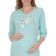 Sassy Mood - Camasa de noapte pentru sarcina si alaptare cu barza, L, Bleu