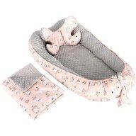 Infantilo - Suport de dormit 3 in 1 Iepurasi Minky, Gri/Roz