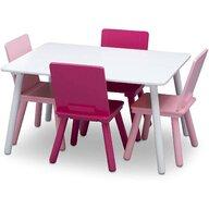 Delta Children - Set Masuta cu 4 scaunele din Lemn, 80x60 cm, Alb/Roz