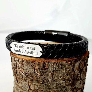 Bratara barbateasca cu piele lata neagra impletita - Placuta cu gravura personalizata - Argint 925 - Inchizatoare neagra inox