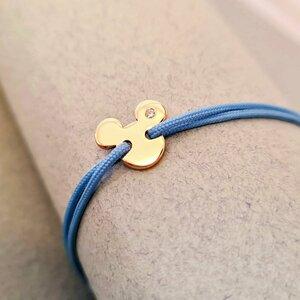 Bratara cu Diamant natural - Model Mickey Mouse - Aur Galben/Roz/Alb 14K si snur reglabil