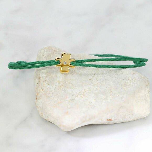 Bratara cu Diamant natural - Model trifoi - Aur Galben/Roz/Alb 14K si snur reglabil