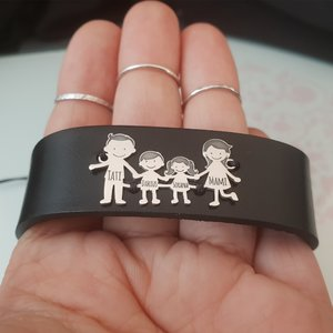 Bratara Familia Mea - pentru barbat - 4 membri - Argint 925 si Piele lata