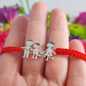 Bratara Familie - 4 Membri cu bebe - pandant Argint 925 - snur impletit