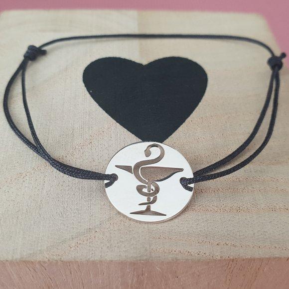 Bratara Farmacist - Argint 925, snur negru reglabil