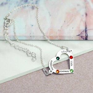 Bratara personalizata - Iubire nelimitata - Inima cu 4 nume gravate si cristale Swarovski - Argint 925, cu lantisor
