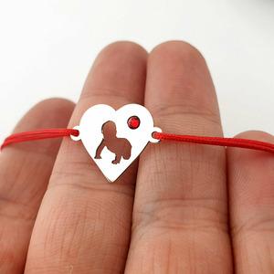 Bratara inima cu bebelus decupat - Argint 925 - Cristal Swarovski  - cu snur reglabil
