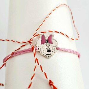 Bratara Minnie Mouse cu fundita decorata cu email - Argint 925 - Snur reglabil
