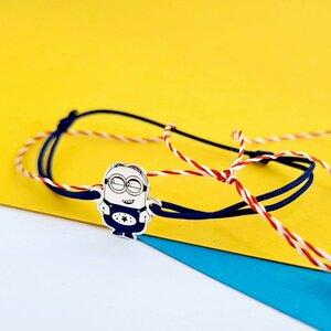 Bratara personaj - Minion decorat cu email - Argint 925 - snur reglabil