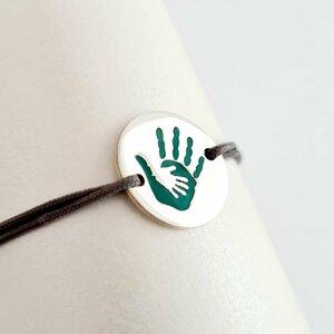 Bratara personalizata - 2 maini unite - Banut de 15 mm decorat cu email - Argint 925 - snur reglabil