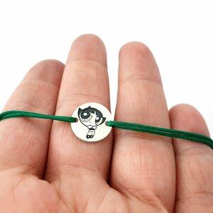 Bratara personalizata - Banut 12mm - Buttercup - Fetitele Powerpuff - Argint 925 - snur reglabil verde