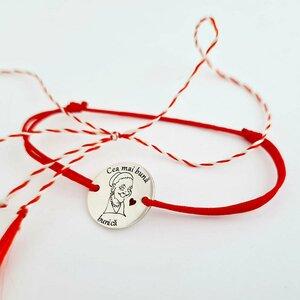 Bratara personalizata - Cea mai buna bunica - Banut de 15 mm decorat cu email - Argint 925 - Snur reglabil