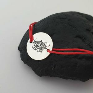Bratara personalizata - Cooking with love - banut de 15 mm - Argint 925 - snur reglabil