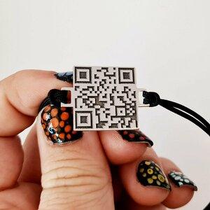 Bratara personalizata cu QR code - Argint 925 si snur gros