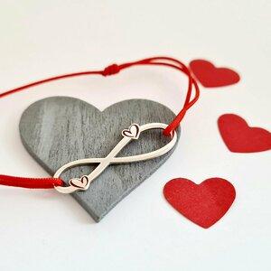 Bratara infinit cu 2 inimi decorate cu email - Argint 925 - Snur reglabil, diverse culori