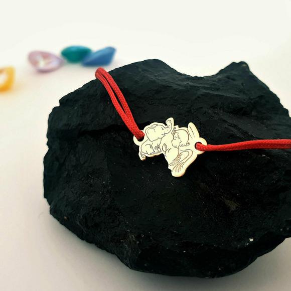 Bratara personalizata - Ingeras si elefant - Aur Galben 14K - snur reglabil