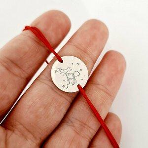 Bratara personalizata - Micul print - banut de 15 mm - Argint 925 - snur reglabil