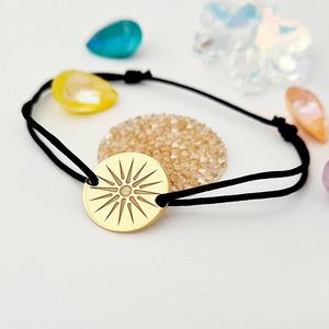 Bratara personalizata - Soarele Vergina - Argint 925 placat cu Aur Galben - snur reglabil