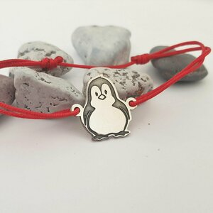 Bratara Pinguin - Argint 925 - snur reglabil