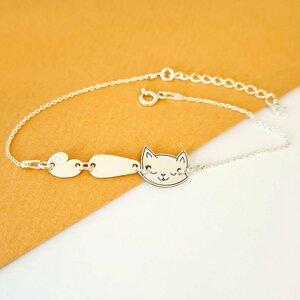 Bratara pisica unita - Cap, corp si coada - Argint 925 - cu lantisor